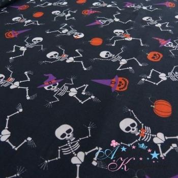 Baumwolle SKULLS Skelett schwarz mit Kürbis rot