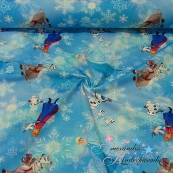 Baumwolljersey Frozen Anna & Elsa Schneekristalle eisblau ~ NEU ~