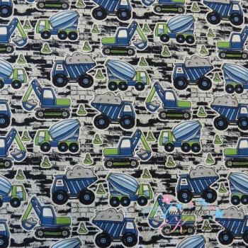 Baumwolljersey BAUFAHRZEUGE mit Warnkegel blau grün auf grau