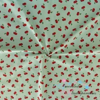 Baumwolljersey Cherry Pop ~ Kirschen auf mint