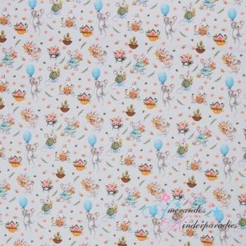 Baumwolle Spring Joy Mäuschen hellgrau