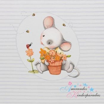 Baumwolljersey Spring Joy PANEL Mäuschen grau