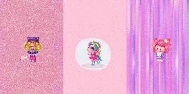 PANEL French Terry UNICORN GIRL rosa mit Pixel Streifen
