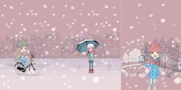 PANEL French Terry SNOWGIRLS Regenschirm altrosa
