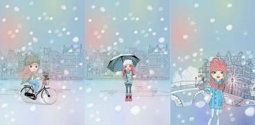 PANEL French Terry SNOWGIRLS Regenschirm blau bunt