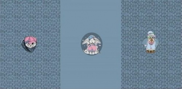 PANEL French Terry TIERE Kätzchen, Häschen, Hündin blau