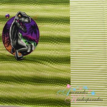 PANEL French Terry DINOLAND Streifen grün
