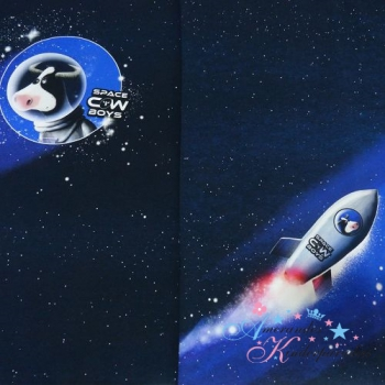 French Terry PANEL Space COW Boys by Thorsten Berger