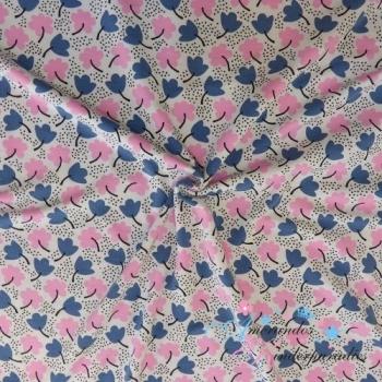Modal Jersey Flower jeansblau zartrosa