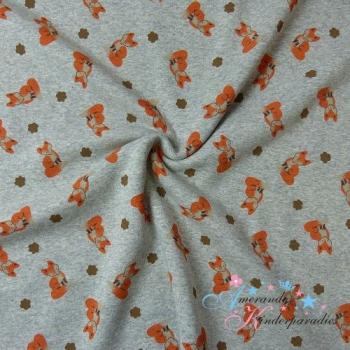 Alpenfleece Fuchs orange auf grau meliert
