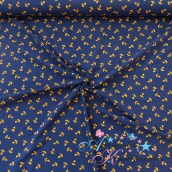 Baumwolljersey Anker senf auf dunkelblau
