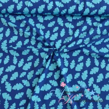 Baumwolljersey Blätter blau - Kombi zu Bananen - Äffchen