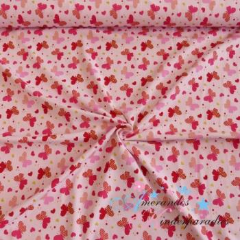 Baumwolljersey Glitzer Schmetterlinge auf rosa