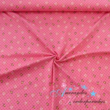 Baumwolljersey Krone mit Rosen und Tupfen pink auf rosa