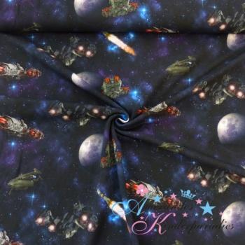 Baumwolljersey Raumschiffe im Weltall auf dunkelblau mit türkisesn Sternen