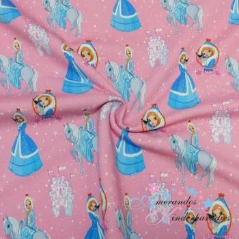 French Terry Prinzessin eisblau blau auf rosa