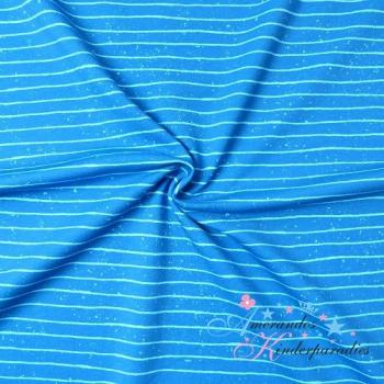 French Terry Zoofun Streifen LINES blau, Kombi Panel