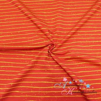 French Terry Zoofun Streifen LINES rot, Kombi Panel