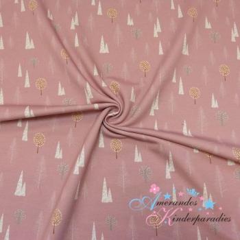 French Terry Tannenbäume Wald weiß auf rosa