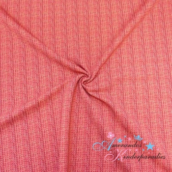 French Terry Zopfstrickmuster rot, Kombi Panel Waldtiere