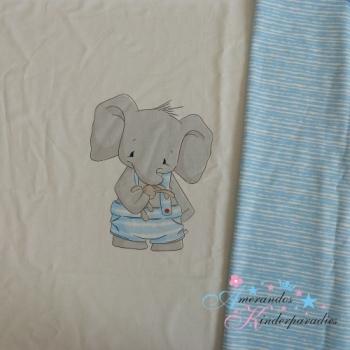 Emmapünktchen PANEL French Terry Jan Elefant mit blauen Streifen