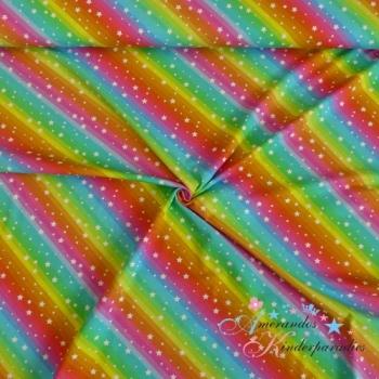 Baumwolljersey Regenbogen Streifen quer mit Sternchen weiß