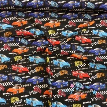 Baumwolljersey Speed Racer auf schwarz