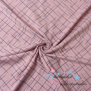 Lillestoff Jersey Cross The Lines pink blue melange