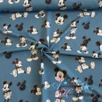 Baumwolljersey Mickey Maus auf jeansblau