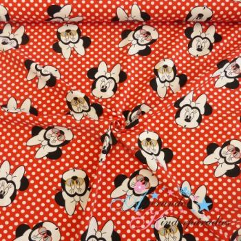 Baumwolljersey Minnie Maus mit Tupfen weiß auf rot