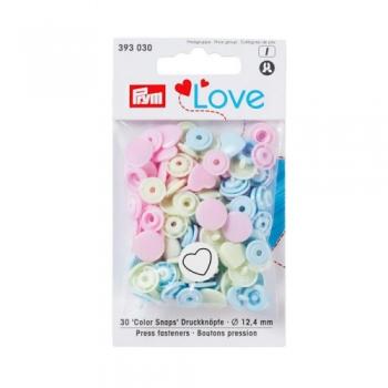 Prym Love Color Snaps HERZCHEN creme babyrosa babyblau [393030]
