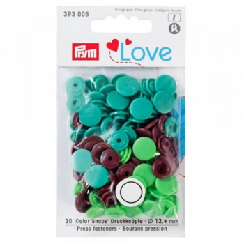 Prym Love Color Snaps RUND grasgrün apfelgrün braun [393005]