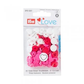 Prym Love Color Snaps HERZCHEN weiß pink rot [393031]