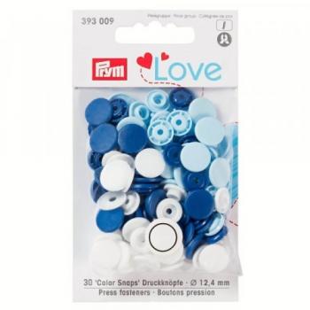 Prym Love Color Snaps RUND weiß hellblau blau [393009]