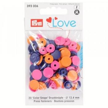 Prym Love Color Snaps RUND orange rosa lila [393006]
