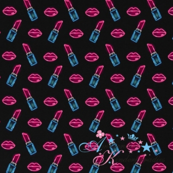 Baumwolljersey THEO Lippen & Lippenstift auf schwarz