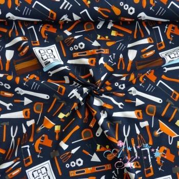 Baumwolljersey Jesse Werkzeuge orange auf dunkelblau
