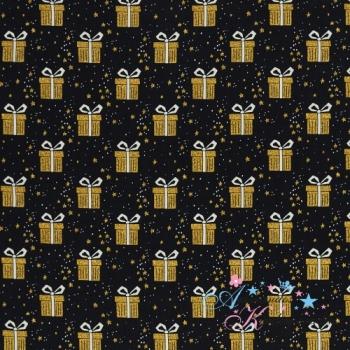 Weihnachtliche Baumwollwebware Joel Geschenke gold