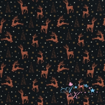 Weihnachtliche Baumwollwebware Joel Rentier kupfer