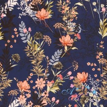 Softshell Fiete Blümchen lachs auf dunkelblau