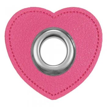 Ösen Patches HERZCHEN für Kordeln Lederimitat pink