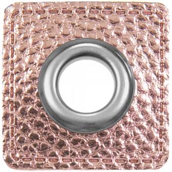 Ösen Patches für Kordeln Lederimitat METALLIC rosa