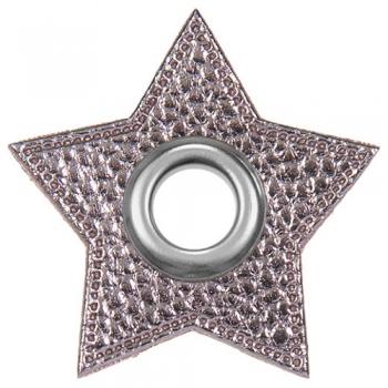 Ösen Patches STERNCHEN für Kordeln Lederimitat Metallic grau [flieder grau]