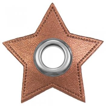 Ösen Patches STERNCHEN für Kordeln Lederimitat Metallic kupfer