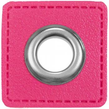 Ösen Patches für Kordeln Lederimitat pink