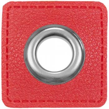 Ösen Patches für Kordeln Lederimitat rot