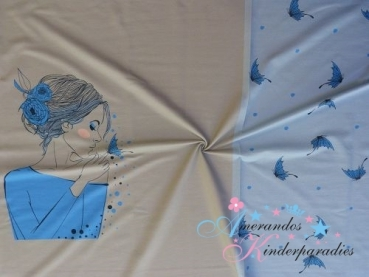 Panel French Terry Dreaming Girl blue