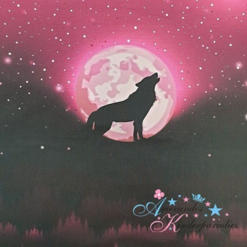 PANEL Baumwollsweat Wolf Moon BEERE ~ Lycklig Design