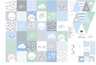 PANEL Welcome Little One BLAU - Webware Lycklig Design