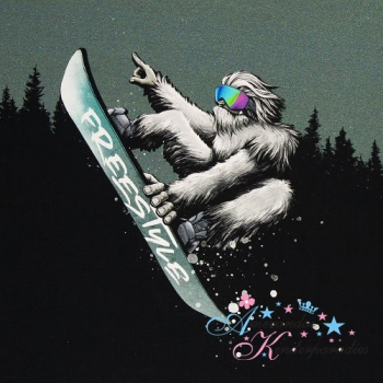 French Terry Panel Yeti Crossing WALD by Thorsten Berger
